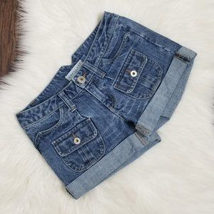 Smart Set | Mini Denim Jean Cargo Shorts Cuffed 1